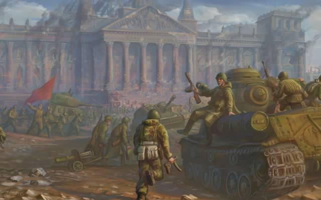 柏林,战争,国会大厦,红军,胜利,艺术,士兵,军队,战斗,坦克,第二世界... ...  -