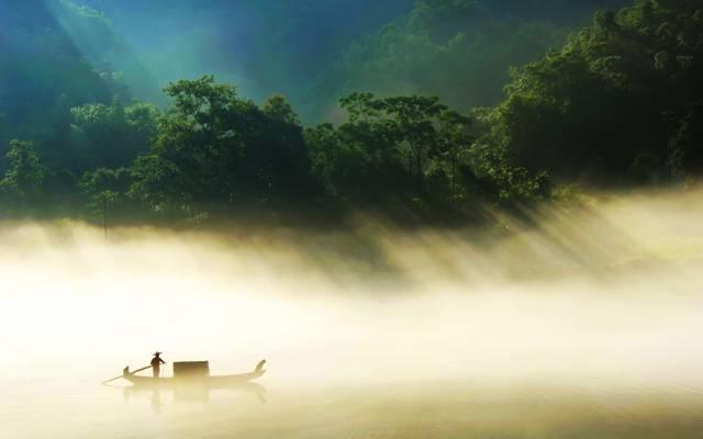 中国,小船,雾,丛林,河,湖南省