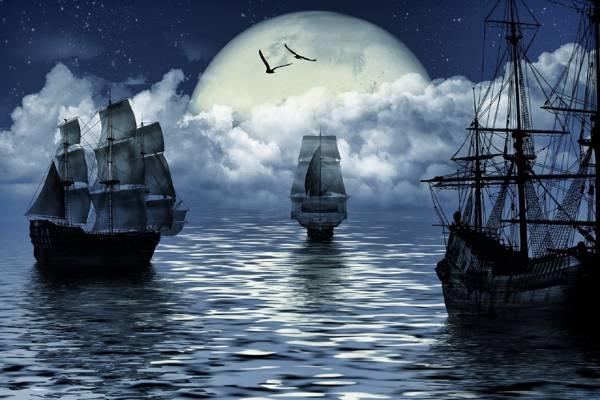 船,帆船,船,海,海,月亮,月亮,幻想,帆船,幻想