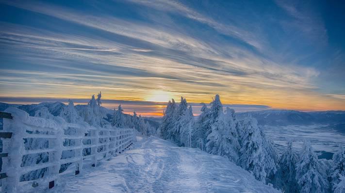 冬天唯美落日