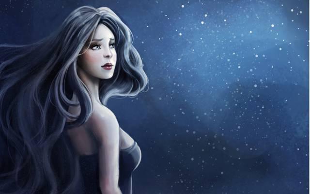 黑暗的背景,女孩,艺术,SenRyuji,火花,轮廓,头发