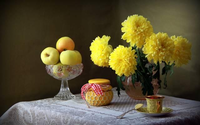 静物,杯,菊花,苹果,罐子,黄色
