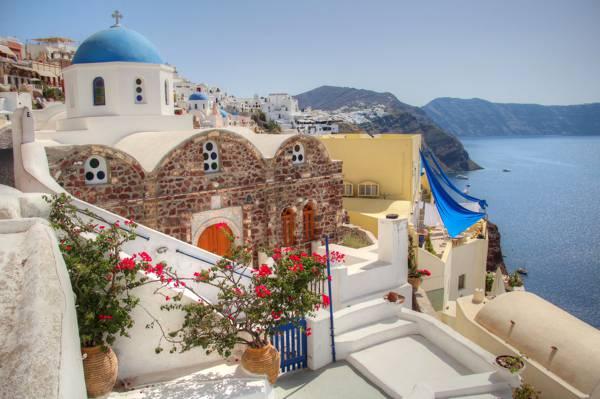 花,圣托里尼,希腊,山,教堂,院子里,海,房子,天空