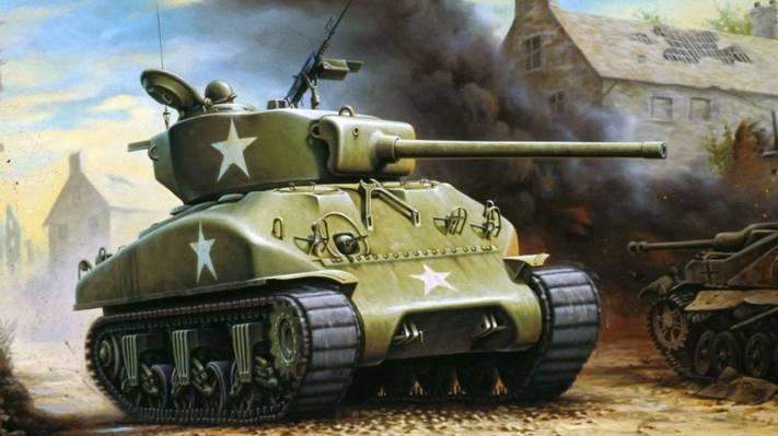 烟,战争,图,坦克,艺术,谢尔曼,破坏
