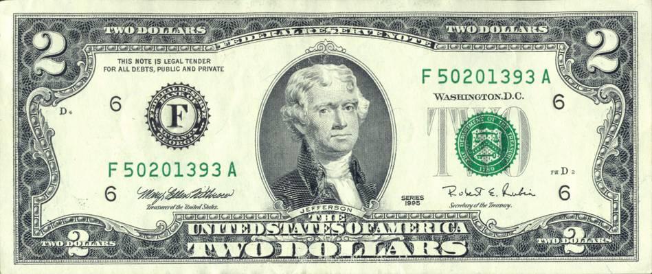 杰斐逊,法律,笔记,美元,联邦,两个