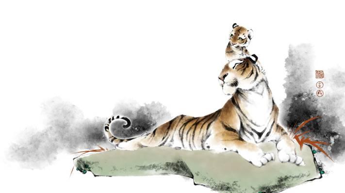 家庭,老虎,老虎,艺术,性质