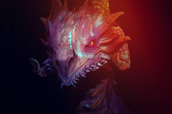 嘴巴,邪恶的眼睛,在黑暗中,脸上,龙,角,燃烧的眼睛,鳞片