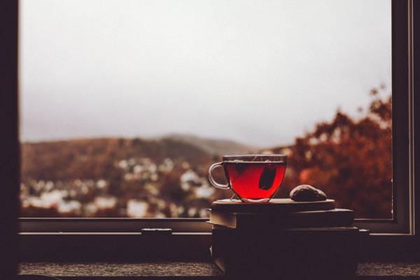 窗口,村庄,雨季,茶,杯子,多云