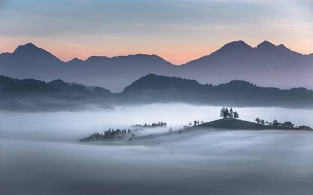 山,斯洛文尼亚,喀尔巴阡,教会,雾