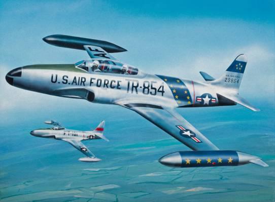 喷气机,洛克希德P-80 / f-80射击之星,航空,绘画,战争,艺术