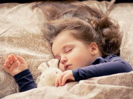 睡觉的女孩与兔毛绒玩具在她身边高清壁纸