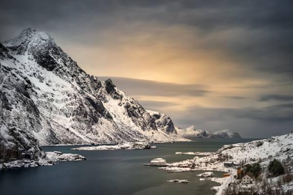 石头,岩石,挪威,海,湾,岸,冬天,山,雪,房子,罗弗敦,罗弗敦群岛