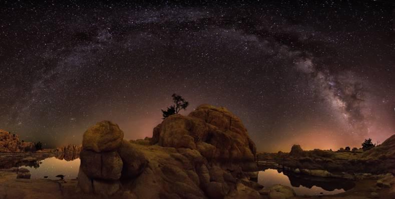 洛矶山脉和明星的风景摄影高清壁纸