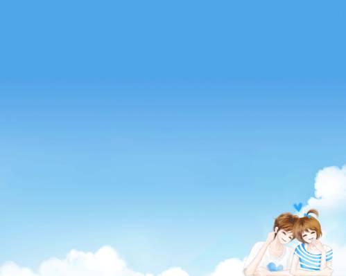 两个,云,家伙,浪漫,Enakei,微笑,女孩,天空,幸福