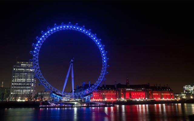 夜晚的城市,照明,背光,反射,首页,英格兰,伦敦,灯,摩天轮,英国,建设,海滨长廊,河