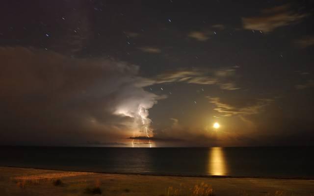 云,Antares,月亮,闪电,星星,佛罗里达州,安娜玛丽亚岛,墨西哥湾