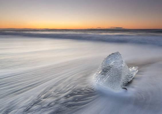 冰块在冬天,冰岛高清壁纸的航拍照片