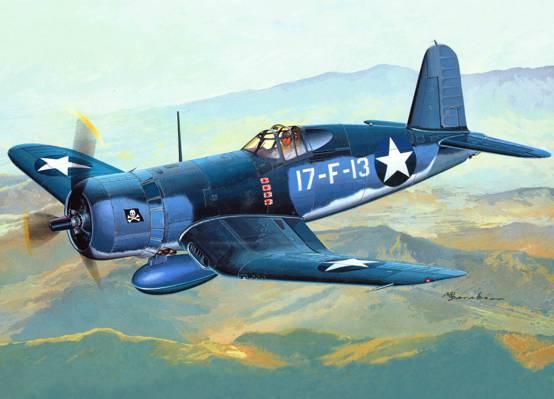 WW2。,艺术,飞机,海,纪念,F4U,岛,中队,BIRD CAGE,2月,CORSAIR,...