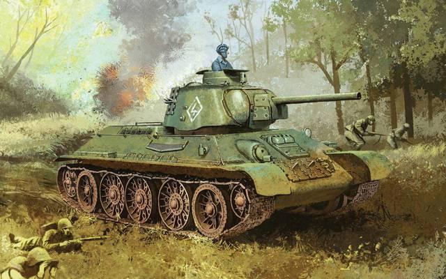 战争。,1943.期间,伟大的,苏维埃,平均,T-34-76,坦克,三十四,国内,样本