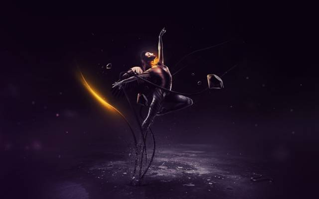创意,表面,翅膀,绳子,水晶,蛇,女孩,火