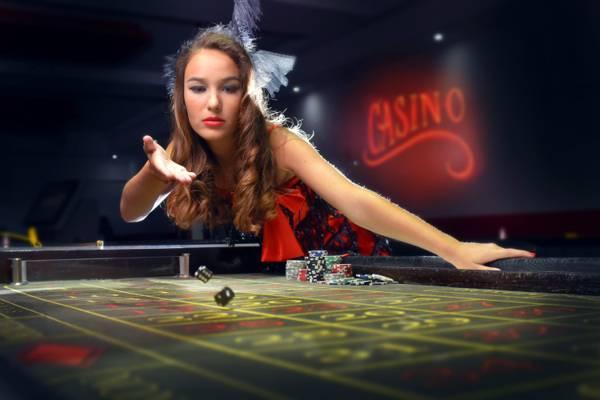 扔,筹码,女孩,赌场,骨头,兴奋