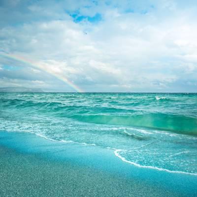 云,沙滩,天空,海洋,鸟,彩虹,海