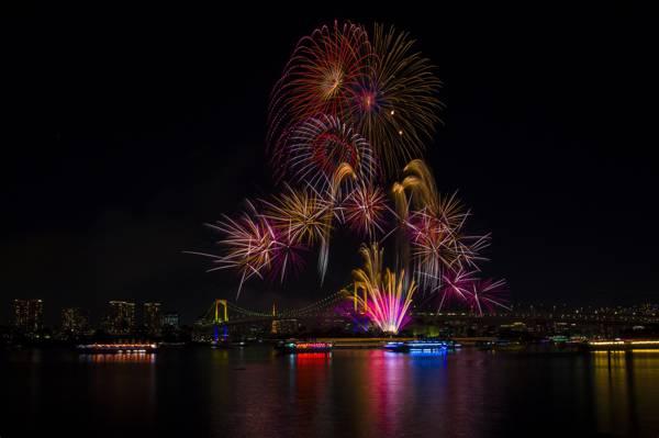 美,东京,日本,度假,建筑,烟花,彩虹桥,灯