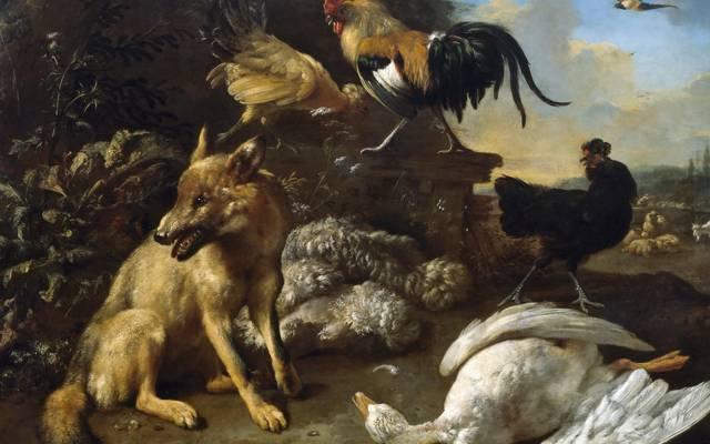 图片,Melchior de Hondecoeter,与狐狸静物和杀死她的鹅,流派,动物