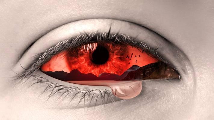 哭红眼插图高清壁纸