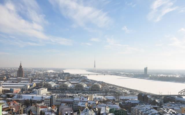 塔,里加,冬天,建筑,城市,首都,里加,拉脱维亚,拉脱维亚,太阳,天空,河