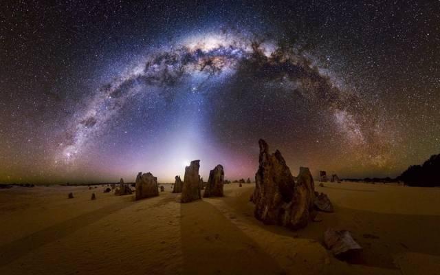 银河系,星星,夜晚,沙漠