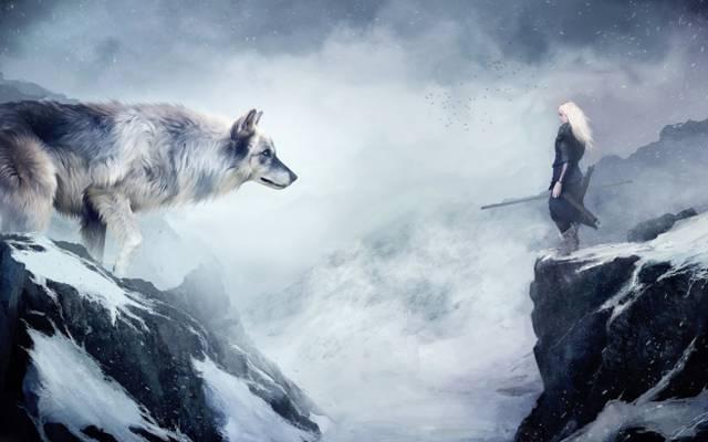 狼,雪,女孩,山