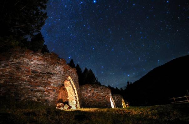 晚上,树木,空间,星星,废墟