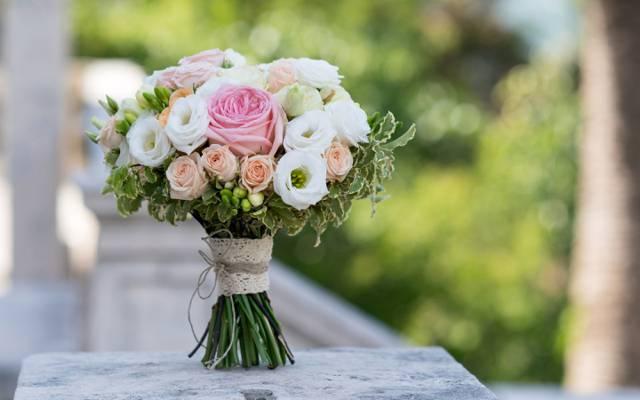 洋桔梗,玫瑰,眩光,背景,花束,散景