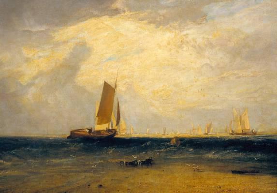 图片,船,威廉·特纳,海景,风帆,在布莱斯沙上钓鱼