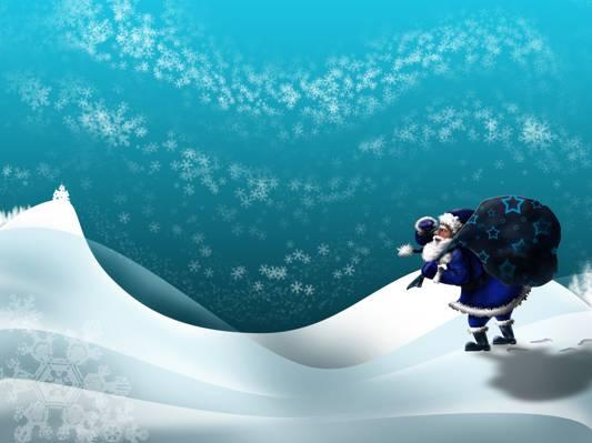圣诞老人,雪,礼物,袋子,冬天,痕迹