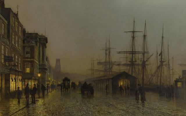 壁纸散步,约翰·阿特金森Grimshaw,城市景观,桅杆,格拉斯哥。