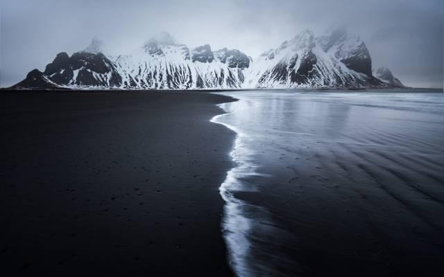 海滩,自然,冰岛,冬天,山,雪,海