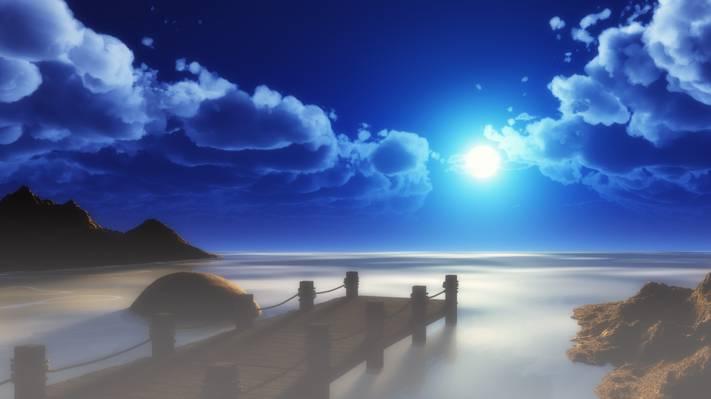 海,景观,桥,艺术,太阳,天空,云