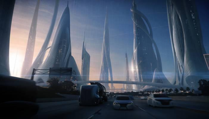 摩天大楼,未来,艺术,道路,机器,城市,运输