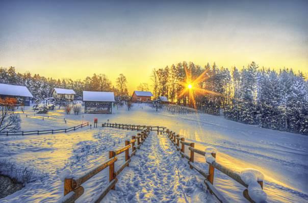 壁纸HDR,雪,冬天,家,线索,村,围栏,太阳,冬天