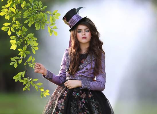 女孩,分支,散景,化妆,帽子