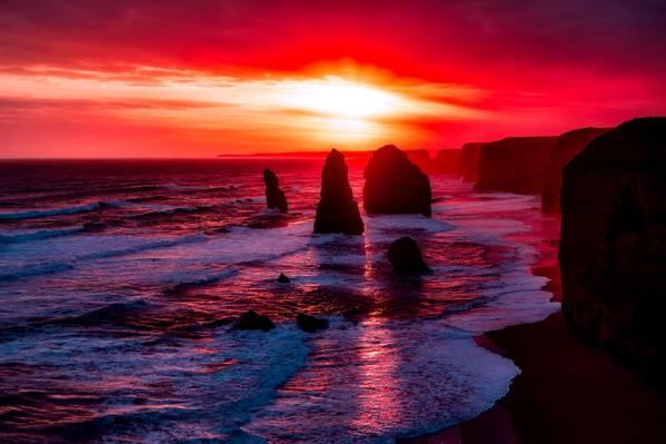 在日落照片高清壁纸海边