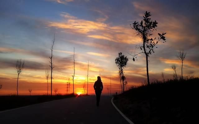 晚上,走路,街道