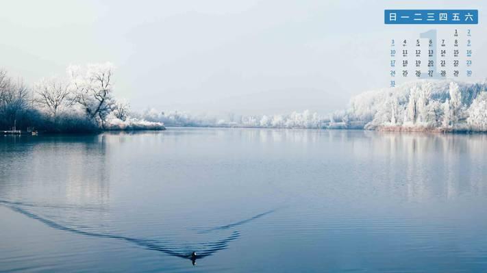 2021年1月冬天雾凇景色风光日历