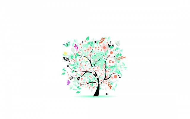 夏天,树,叶子,花,蝴蝶