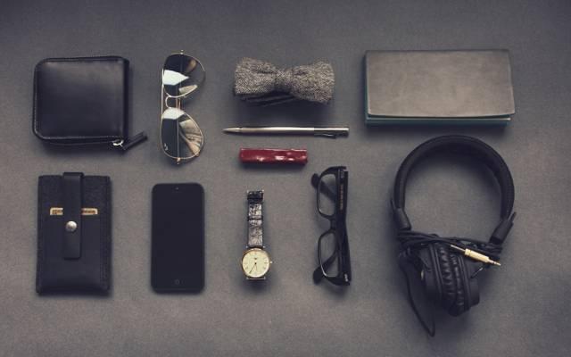 手柄,集,名片夹,眼镜,手表,智能手机,耳机,绅士,时髦,男性,蝴蝶,绅士,记事本