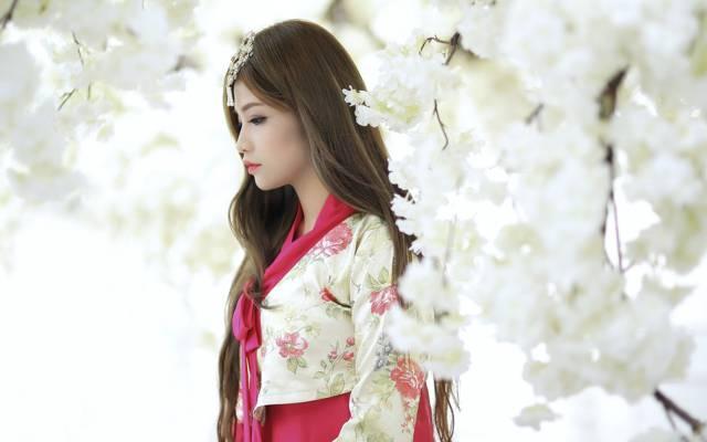 花园,女孩,春天,亚洲