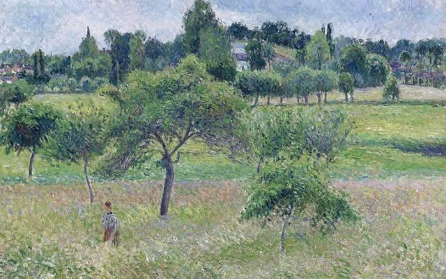 景观,卡米耶·毕沙罗,在Eragny苹果树,图片