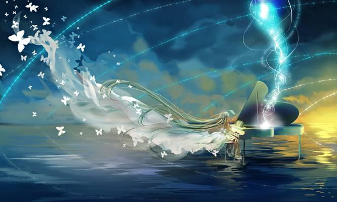 初音未来,钢琴,艺术,动漫,水,女孩,蝴蝶,天空,vocaloid,云,miemia